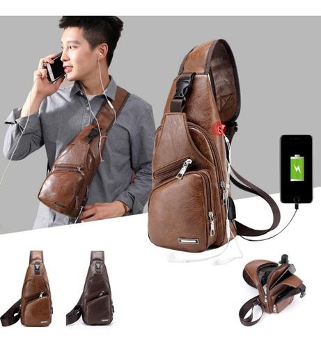 mochila para hombre mariconera pechera hombro imitación piel con puerto usb y cable incluido para carga de dispositivos