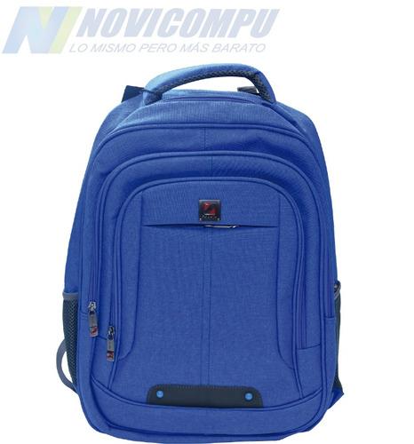 mochila para laptop, azul y rosada varios compartimentos
