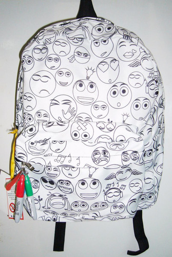 mochila para pintar a tu gusto con 3 marcadores emojis arty