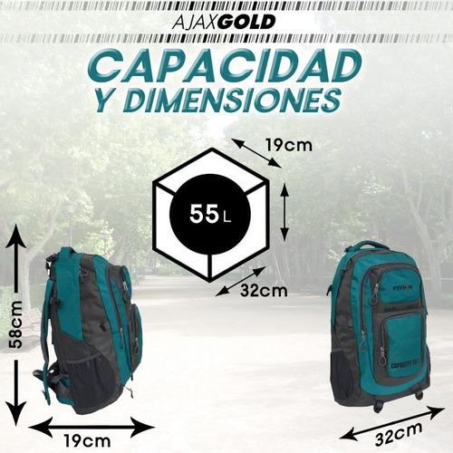 mochila peyton mochilero camping 55 litros deportiva premium