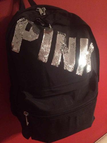 mochila pink-victoria's secret negra ,envió gratis!!