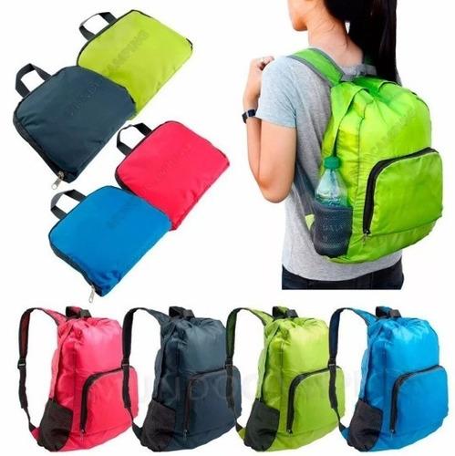 mochila plegable liviana camping viajes bolsillos reforzada