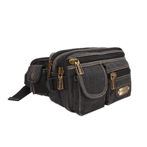 mochila + pochete lona masculina feminina notebook reforçada