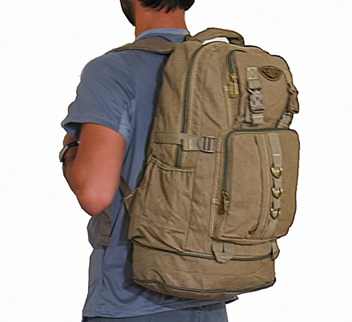 mochila + pochete lona sport masculina feminina viagem