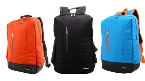 mochila polaroid plbp-3700  color:  salmón, negra y celeste.