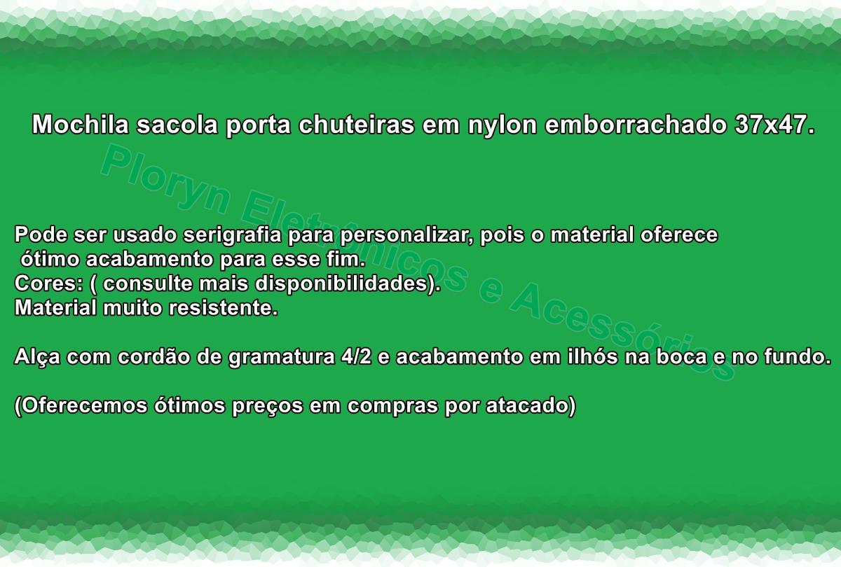 mochila porta chuteira nylon borracha impermeável kit com 50. Carregando  zoom. 4c333be9e7303