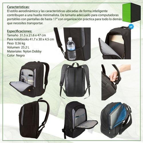 mochila porta notebook 17 case logic vnb-217 reforzada hp dv