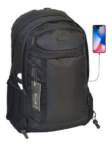 mochila porta notebook acolchada usb hasta 17 pulgadas