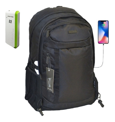 mochila porta notebook usb hasta 17 + cargador portatil 6000