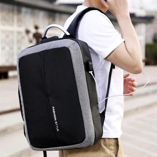 mochila portafolio antirobo 2 en 1 con candado