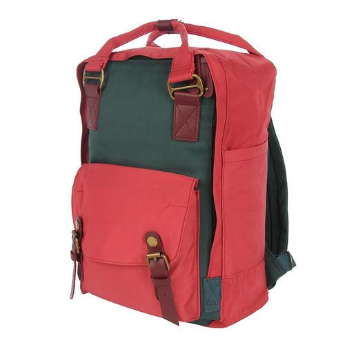 mochila portanotebook bordo con bolsillo frontal mujer