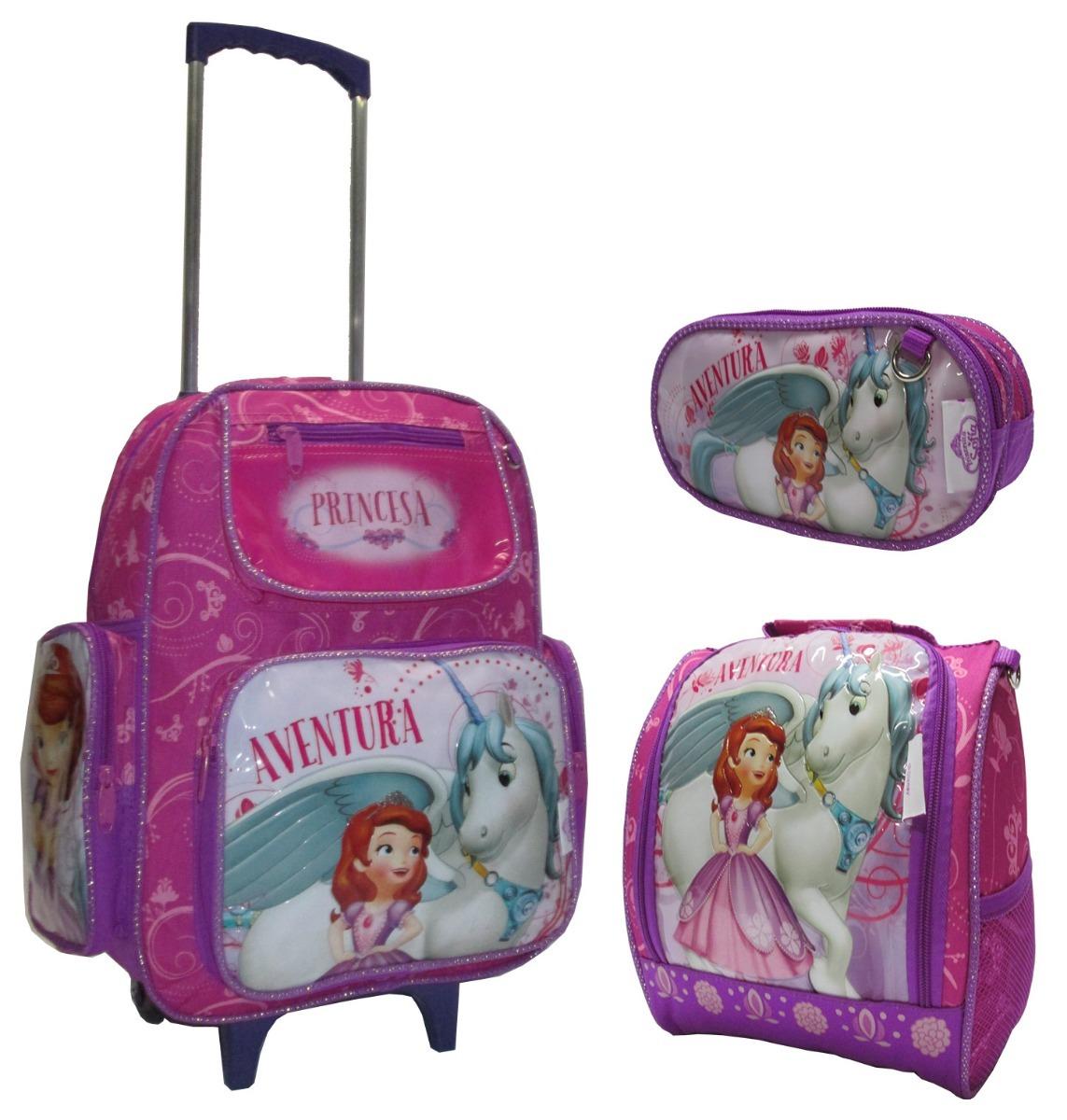 8bf4e75013 mochila princesa sofia rodinha kit lancheira estojo 2019 g. Carregando zoom.