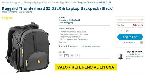 mochila profesional ruggard thunderhead-trípode y laptop