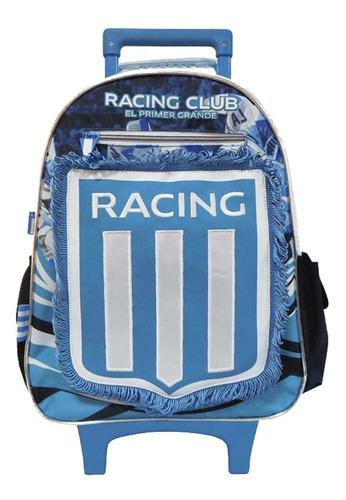 mochila racing carro carrito escolar c/banderin 16'' lic of.