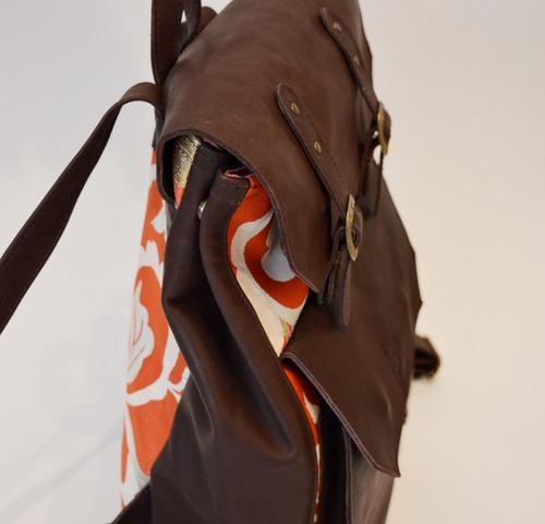 mochila rectangular de cuero y brocato japonés aim bags