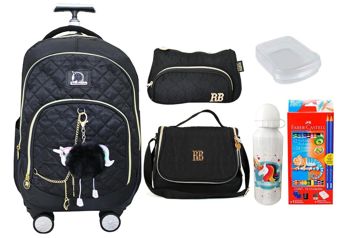 ceab3cb8f mochila rodinhas 360 feminina unicórnio escolar notebook kit. Carregando  zoom.