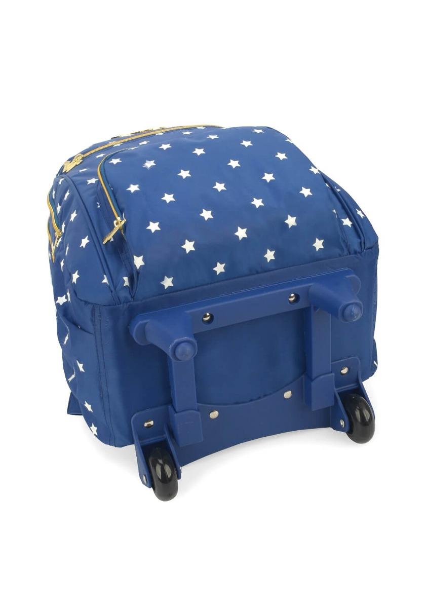 1a28f7ff7 mochila rodinhas mulher maravilha mochilete carrinho azul. Carregando zoom.