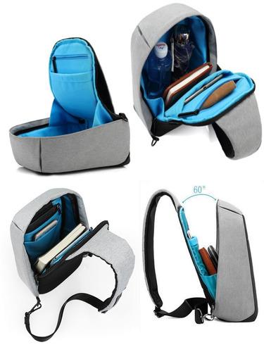 mochila sling cruzada hombro antirobo impermeable usb m