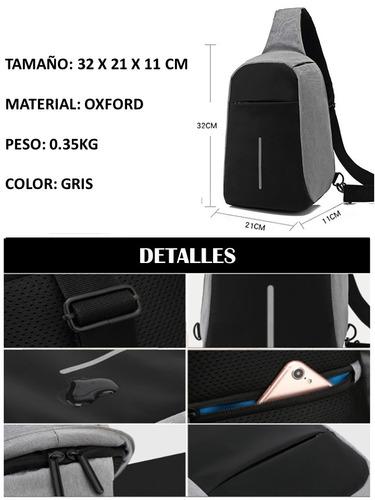 mochila sling hombro antirobo calidad premium bateria usb