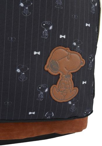 mochila snoopy com chaveiro preta -48507