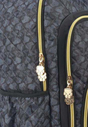 mochila snoopy com chaveiro preta -48517