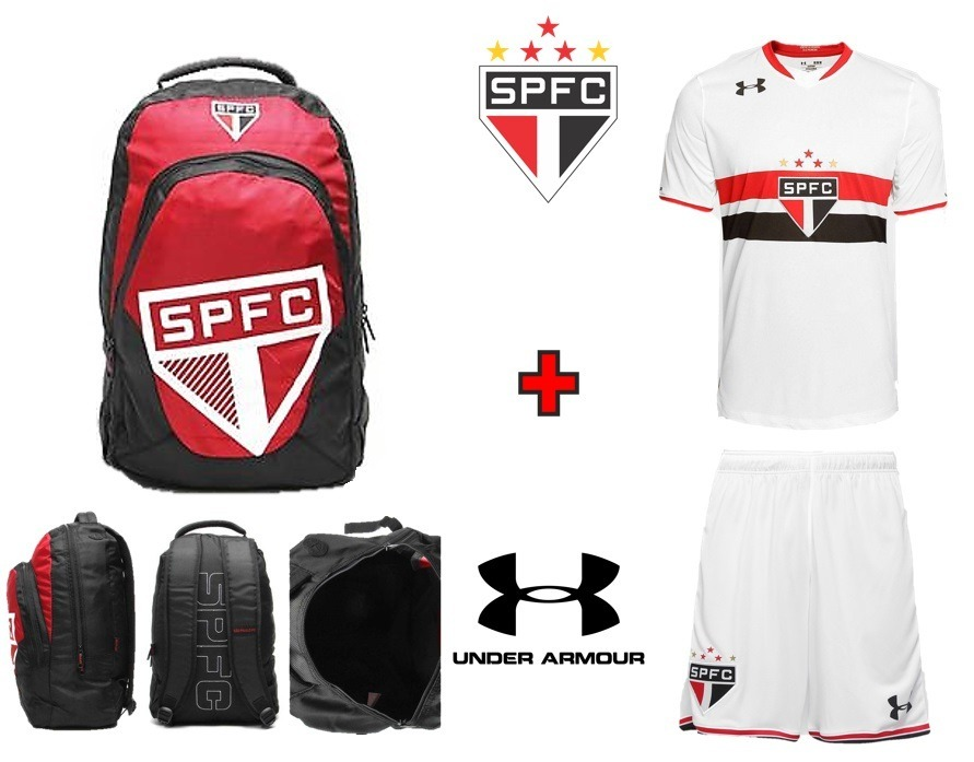 c84148cf6d3 mochila spfc escolar + uniforme são paulo under armour tam g. Carregando  zoom.