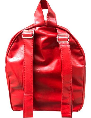 mochila sport -damas simil cuero rojo / negro promoción kaos