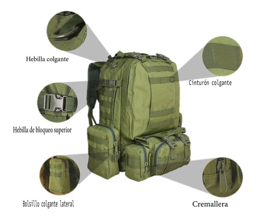 mochila táctica camping militar impermeable 50l senderismo