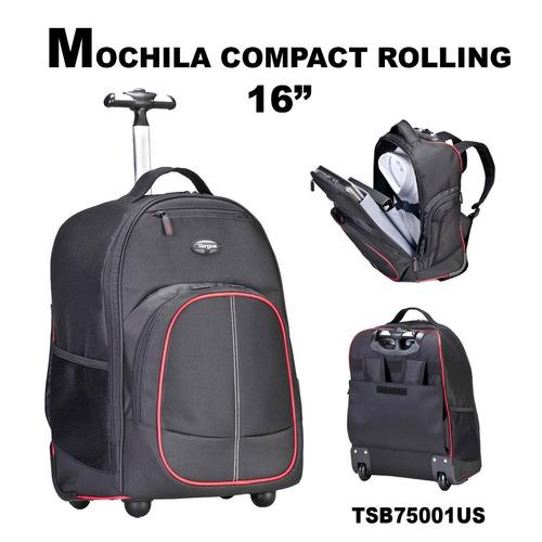 mochila targus rolling 16 con rueda maletin viaje itelsistem