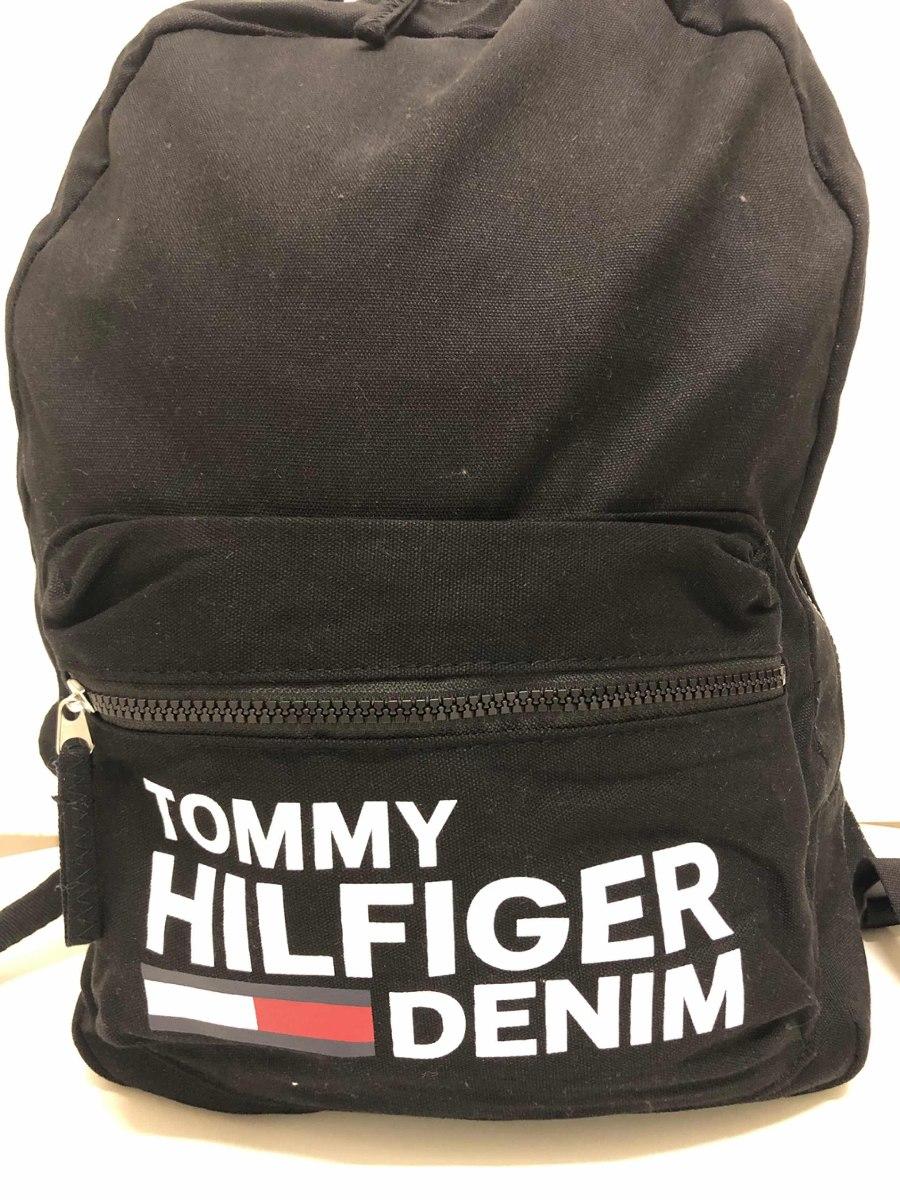 16722143e Mochila Tommy Hilfiger Preta De Lona - R$ 359,00 em Mercado Livre