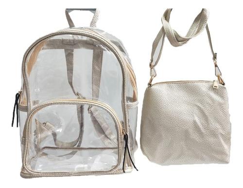 mochila transparente com couro nova moda feminina 2019