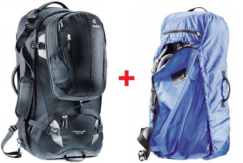 mochila traveller 70 + 10 preta + capa transpor cover