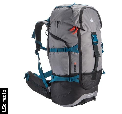 mochila trekking quechua forclaz 50 gris