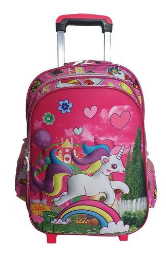 mochila unicornio con carro+cartuchera+lunchera, c/luz 72