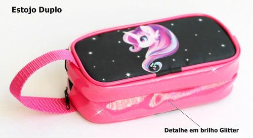mochila unicornio rodinhas lancheira estojo kit brilho pink