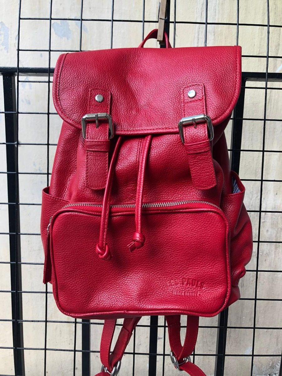 3ed52783e Mochila Urbana Les Pauls De Cuero Roja - $ 4.399,00 en Mercado Libre