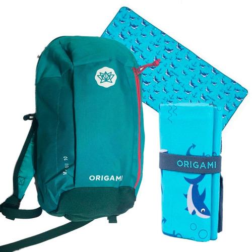 mochila urbana origami 10 litros + toallon dibujos 1,60 x 80