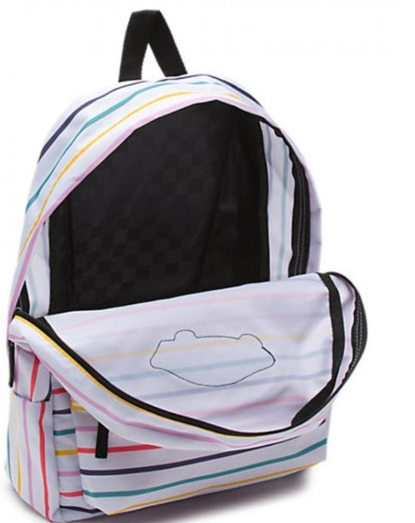 Mochila Vans Blanca Con Rayas De Colores. Nueva. Original ... fe7190a97ae