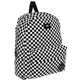 mochila vans negra y blanca cuadros