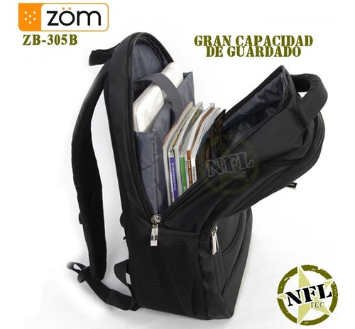mochila zom zb-305b 26lts acolchada notebook 15,6 +tablet 10