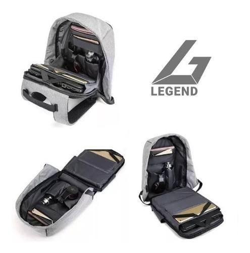 mochilas antirrobo legend m1713 black & gray+ puerto usb