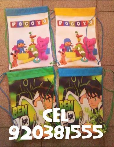 mochilas, carteritas, cartucheras infantiles para cumpleaños