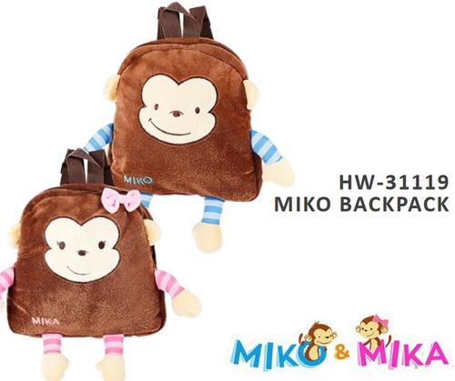 mochilas de peluche miko y mika calidad premium (unitario)