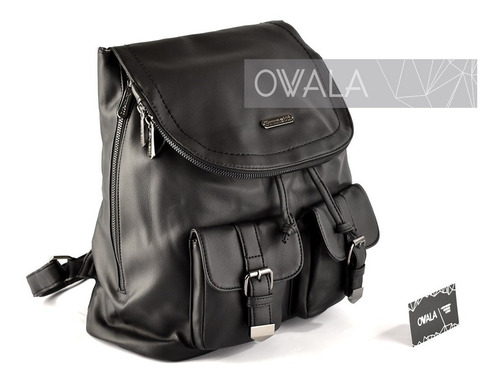 mochilas mujer cuero sintético grandes negra bolsillo solapa