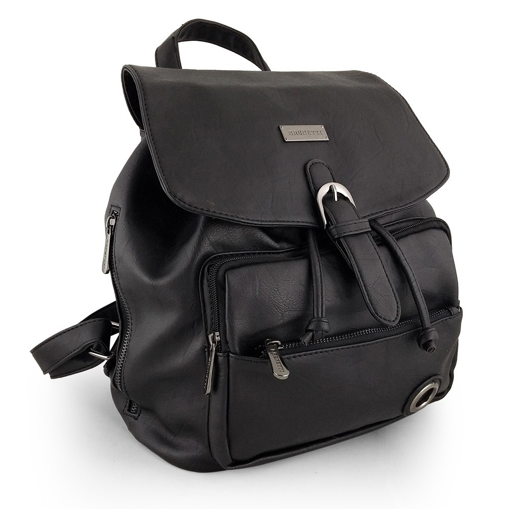 a39b40d3e8a mochilas mujer cuero sintético negras solapa brunetti. Cargando zoom.