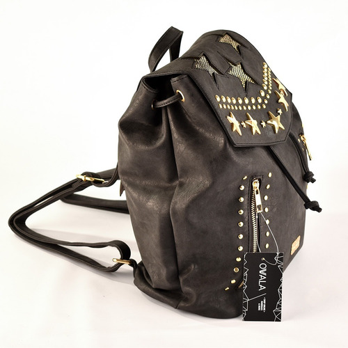 mochilas simil cuero mujer urbanas tachas facultad grandes