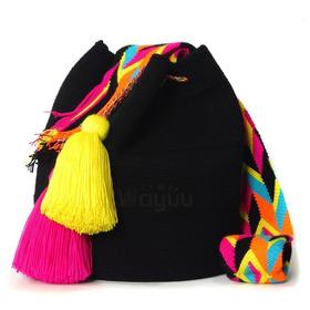 Mochilas Wayuu Negras Artesania Guajira Hecho A Mano