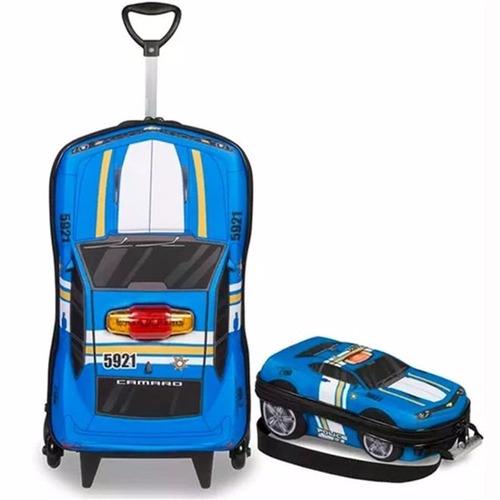 mochilete mala escolar infantil + lancheira camaro policia
