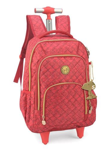 mochilete snoopy com chaveiro de metal vermelha -51225
