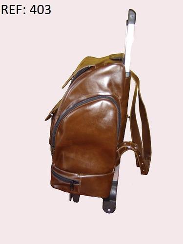 mochilão com carrinho em couro legítimo. promoção frete grát